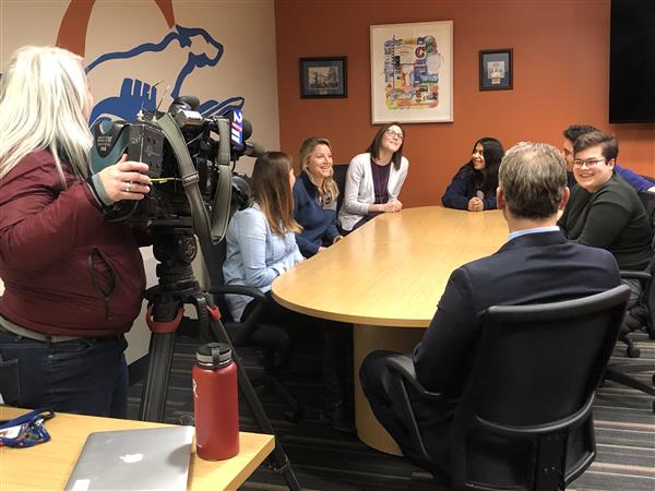 FOX 2 News Visits with CHS Students Prior to Iowa Caucus Field Trip