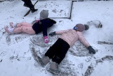 Family Center Learners Enjoy the Season's First Snowfall