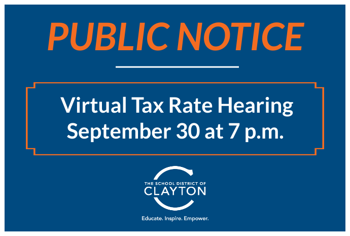 Virtual Tax Rate Hearing to be held on Sept. 30, 2020