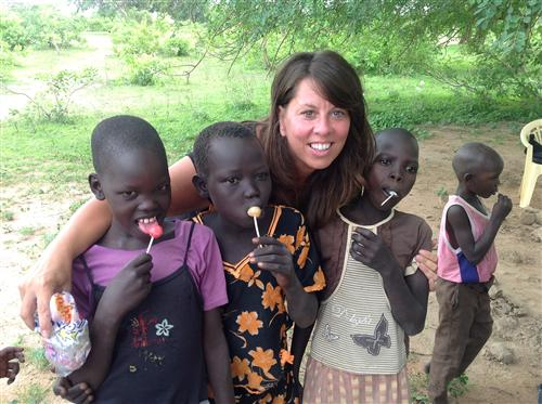 Miss G. with her students in South Sudan