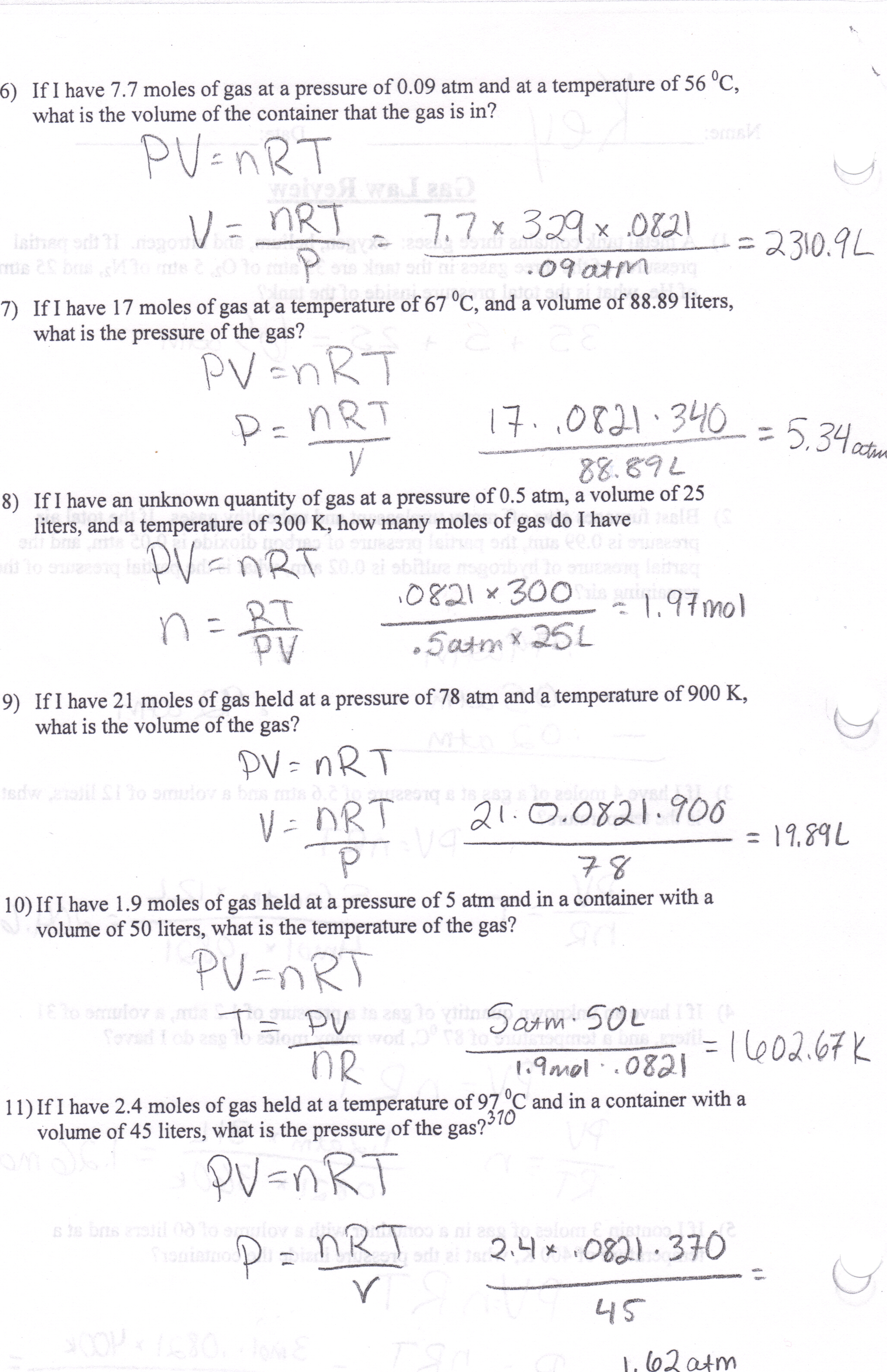 Worksheets. Gas Law Problems Worksheet. Pureluckrestaurant Free ...